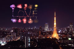 Love sparkle Fireworks celebrating over Tokyo cityscape at night Stock Photo