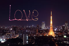 Love sparkle Fireworks celebrating over Tokyo cityscape at night Royalty Free Stock Photos