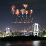 Love sparkle Fireworks celebrating over Tokyo Rainbow Bridge at Stock Photo