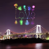 Love sparkle Fireworks celebrating over Tokyo Rainbow Bridge at Royalty Free Stock Photo