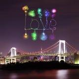 Love sparkle Fireworks celebrating over Tokyo Rainbow Bridge at Royalty Free Stock Photo
