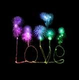 Love sparkler firework light alphabet with fireworks Stock Photos
