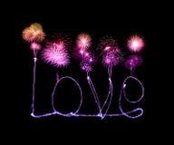 Love sparkler firework light alphabet Stock Photo