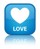 Love special cyan blue square button Stock Photography