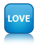 Love special cyan blue square button Stock Photos