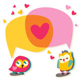 Love speech bubble with cute owl. Stock Photos