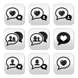 Love speech bubbles, couples  buttons set Stock Images