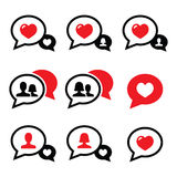 Love speech bubbles, couples  icons set Royalty Free Stock Photos