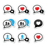 Love, speech bubbles with heart  icons set Stock Images