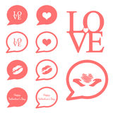 Love speech icon valentine icon set. Love speech icon valentine set vector illustration