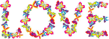 Love spelled with butterflies. An illustrated view of the word love spelled with brightly colored butterflies Royalty Free Stock Photos