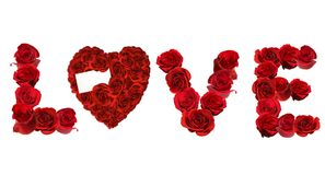 LOVE Spelled With Individual Roses on White Backgr Royalty Free Stock Photo