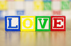 Love Spelled Out in Alphabet Building Blocks Royalty Free Stock Photos