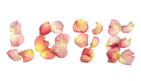 Love spelled out in rose petals. The word LOVE in rose petals isolated on white Royalty Free Stock Image