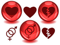 Love spheres. Love related symbols: heart, broken heart and entwined male female, in dark red silhouettes alone or inside a glossy red sphere with drop shadow Royalty Free Stock Photos