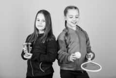 We love sport. Child might excel in completely different sport. Friends ready for training. Ways to help kids find sport royalty free stock photography