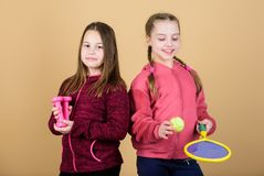 We love sport. Child might excel in completely different sport. Friends ready for training. Ways to help kids find sport royalty free stock photo
