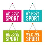 We love Sport hanging Door Sign. Eps10 Vector. vector illustration
