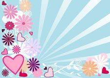 Love Spring Background. Abstract spring background with sun rays, flowers swirls and hearts vector illustration