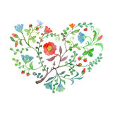 Love Spring Card with Watercolor Forest Heart Stock Images