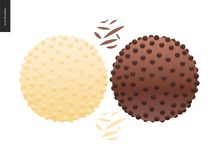 Love spring chocolate. Dark and white chocolate crisp bonbons and choclate chips Royalty Free Stock Photography
