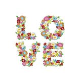 LOVE spring flowers (block) royalty free stock images