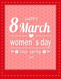 Love Spring Happy 8 March Womens Day Greeting Card. With congratulations inscription decorated by flowers and heart isolated on dotted backdrop in frame stock illustration