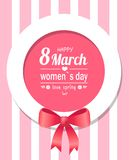 Love Spring Happy Womens Day 8 March Greeting Card. Love spring happy womens day eight march greeting card design in pink frame with text decorated by bow vector royalty free illustration
