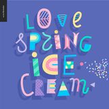 Love spring ice cream lettering. And sprinkle Stock Photography
