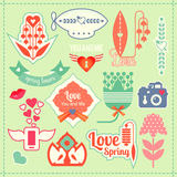 Love and spring labels Stock Photo