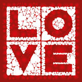 Love in square. Inscription - love, in the squares with a heart Stock Images