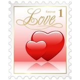 Love Stamp. Colored illustration with heart Stock Photos