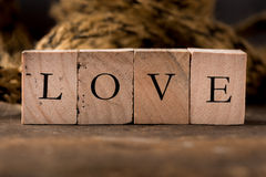 Love in Stamping Blocks Royalty Free Stock Photo