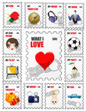 Love stamps. Illustration of a set of love stamps Stock Photos