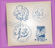 Love Stamps set. Handwritten calligraphic Love Stamps set Royalty Free Stock Images
