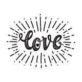 Love and starburst white. Universal handwritten inscription love, in honor of Valentine s Day, vintage retro grunge design. Simple template for printing, t-shirt Stock Photos