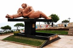 Love statue. In Mira Flores district of Lima royalty free stock photos