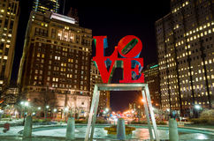 The Love statue in the Love Park Philadelphia Royalty Free Stock Photos
