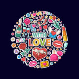 With love sticker clip mart in circle Royalty Free Stock Image