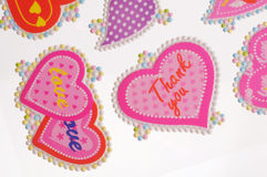 Love stickers. Colorful valentine heart stickers - pink Royalty Free Stock Photography