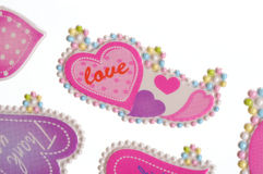 Love stickers. Colorful valentine heart stickers - pink Stock Photos