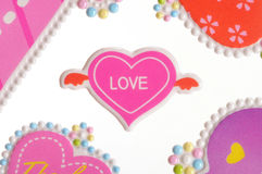Love stickers. Colorful valentine heart stickers - pink Royalty Free Stock Photo