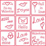 Love stickers. Nine romantic glossy stickers. Valentines day cards Royalty Free Stock Image