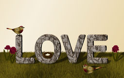 """Love Stone Wall with Gold and Red Birds and Flowers. The word love as a """"gray stone wall."""" A gold and burgundy red bird is sitting on top of one of the vector illustration"""