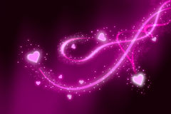 Love story. St Valentines background with hearts  and swirls Stock Photo