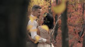 Among the trees in the autumn forest is an embrace of a couple in love. Love story in the autumn park stock video footage