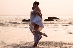 Love story on the beach Stock Images