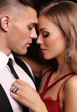 Love story. beatiful sexy couple. gorgeous blond woman and hands Royalty Free Stock Images