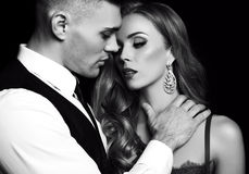 Love story. beatiful couple. gorgeous blond woman and handsome man Royalty Free Stock Photo