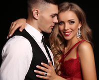 Love story. beatiful sexy couple. gorgeous blond woman and handsome man Stock Image